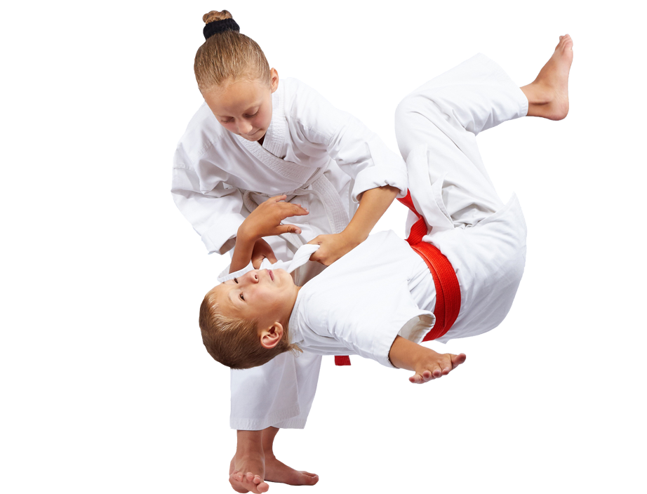 young girl throwing a boy with jiu-jitsu